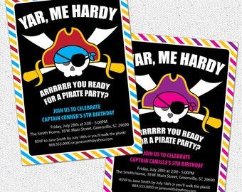 Pirate Invitation, Birthday Party Invite, Skull, Yar, Arrrr, Sword, Eye Patch, Modern, Printable, Boy or Girl Pink, DIY Digital File