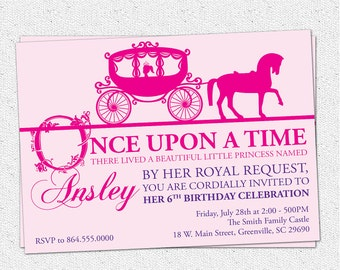 Princess Birthday Party Invitation, Printable, Girl, Horse Drawn Carriage, Story Book, Pink  Purple, DIY digital file