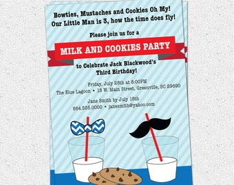 Little Man Birthday Invitation, Printable, Boy, Bow ties, Mustache Bash, Milk and Cookies, Chevron, Straw Topper Set, DIY Digital Files