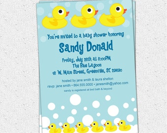 Baby Shower Invitation Printable, Rubber Duck Ducky Duckie, Gender Neutral Boy or Girl, Yellow and blue Modern, DIY Digital File