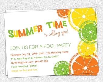 Citrus Invitation, Summer, Pool Party, Lemon, Lime, Orange, Birthday, BYOB,  Printable  DIY digital file