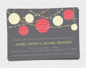 Printable Rehearsal Dinner Invitations, Night, Lanterns, Stars, Birthday, Retirement, Outdoor Party, Pick Your Colors, DIY digital file
