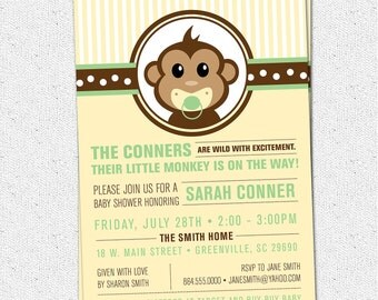 Little Monkey Baby Shower Invitation Printable, Modern, Preppy, Gender Neutral Boy Girl Yellow and Green, DIY Digital File