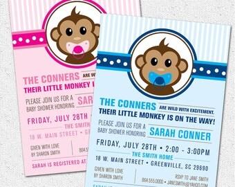 Little Monkey Baby Shower Invitation Printable, Modern, Preppy, Boy or Girl Blue or Pink, You Choose,, DIY Digital File