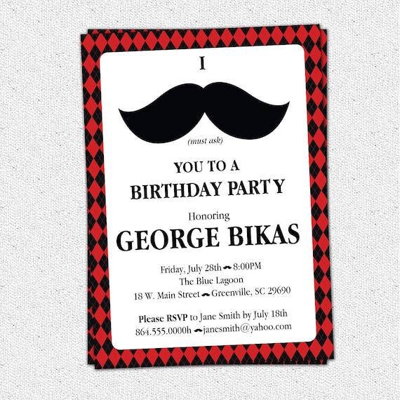 Items Similar To Printable Mustache Argyle Birthday Party