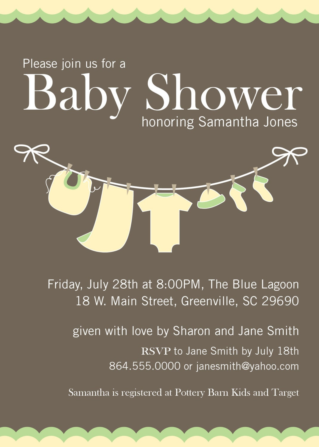 baby shower invitation printable yellow green by ohcreativeone