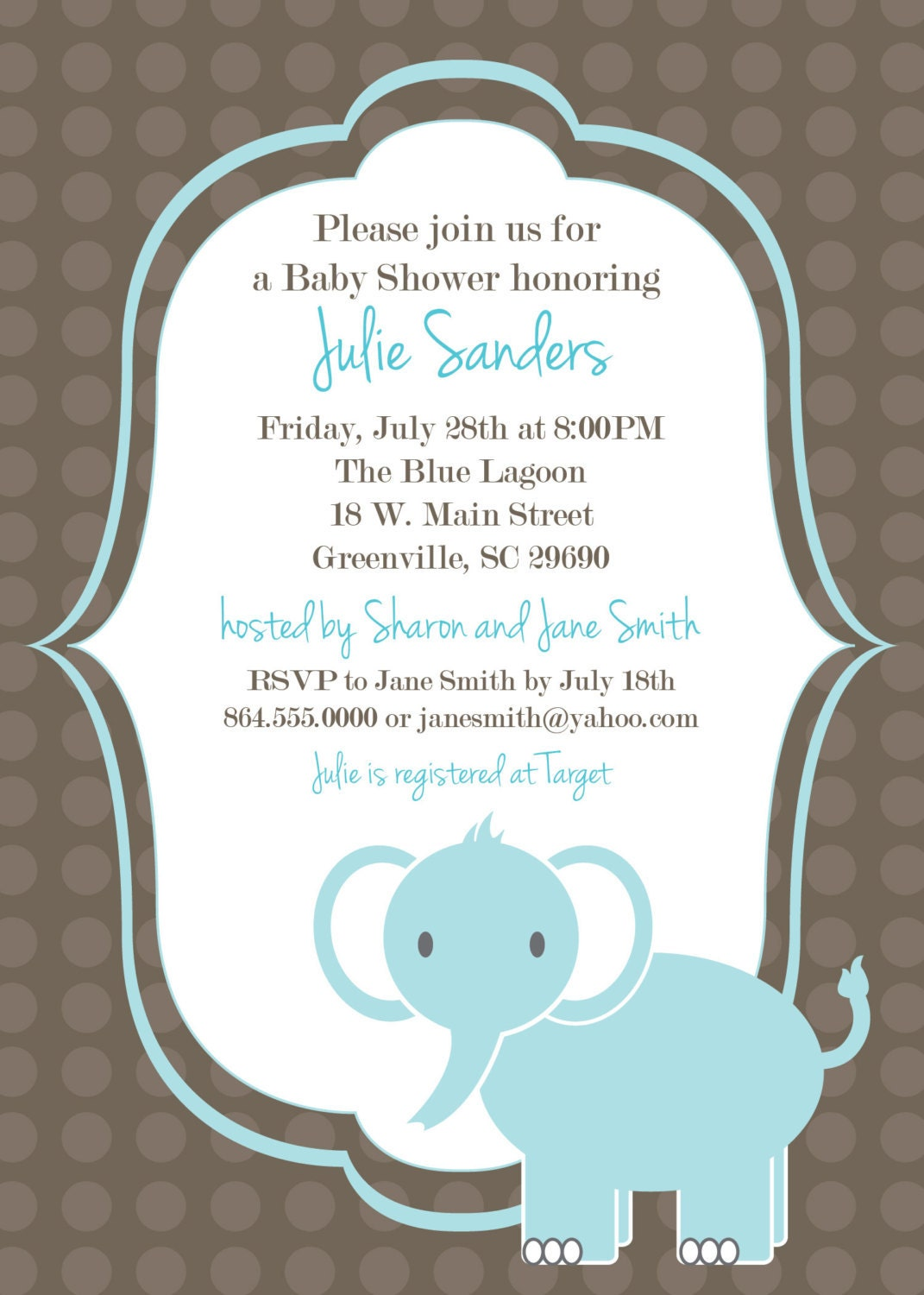 Printable baby shower invitation elephant boy light blue for Baby shower decoration templates