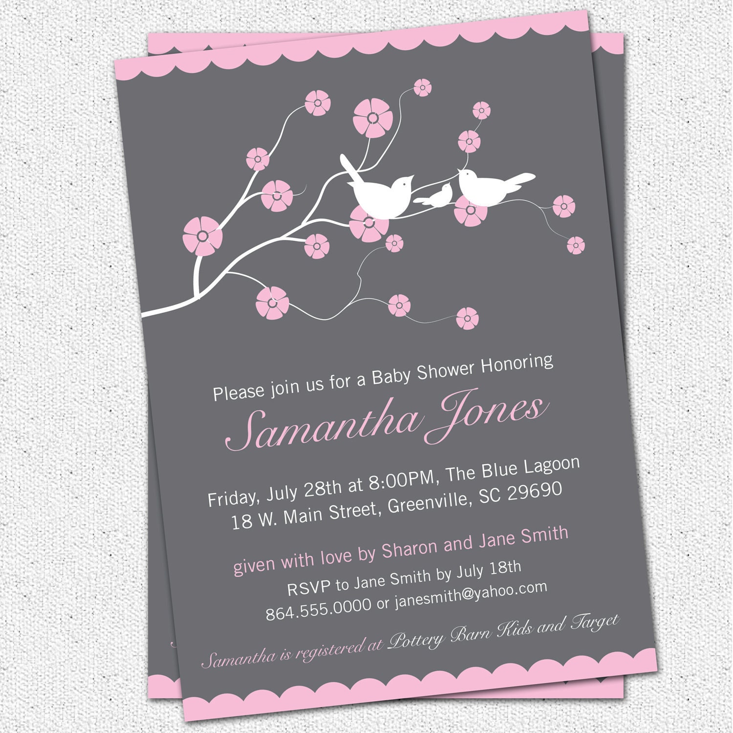 Printable Baby Shower Invitation Cherry Blossom Birds Girl