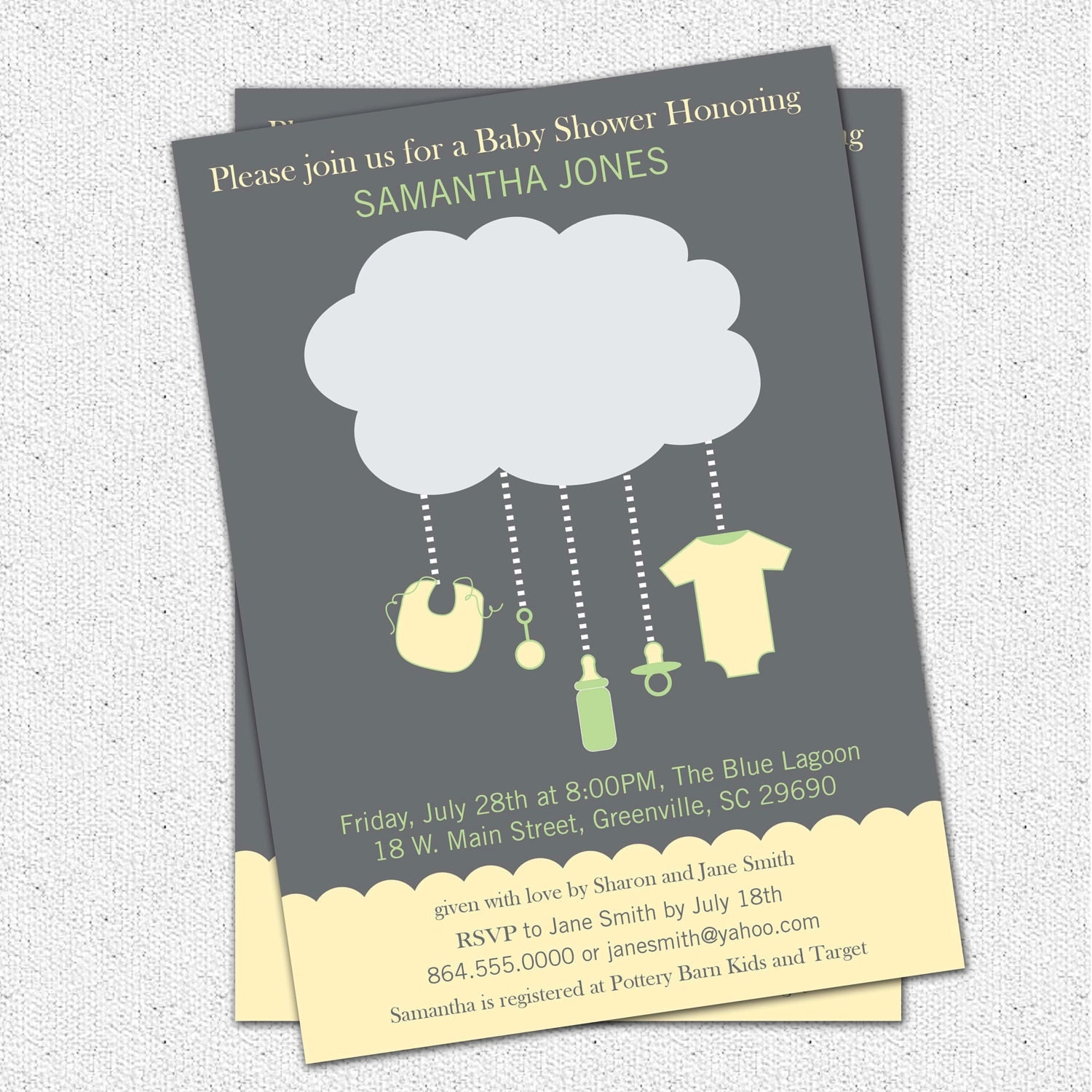 Printable Rain Cloud Baby Shower Invitation Gender Neutral
