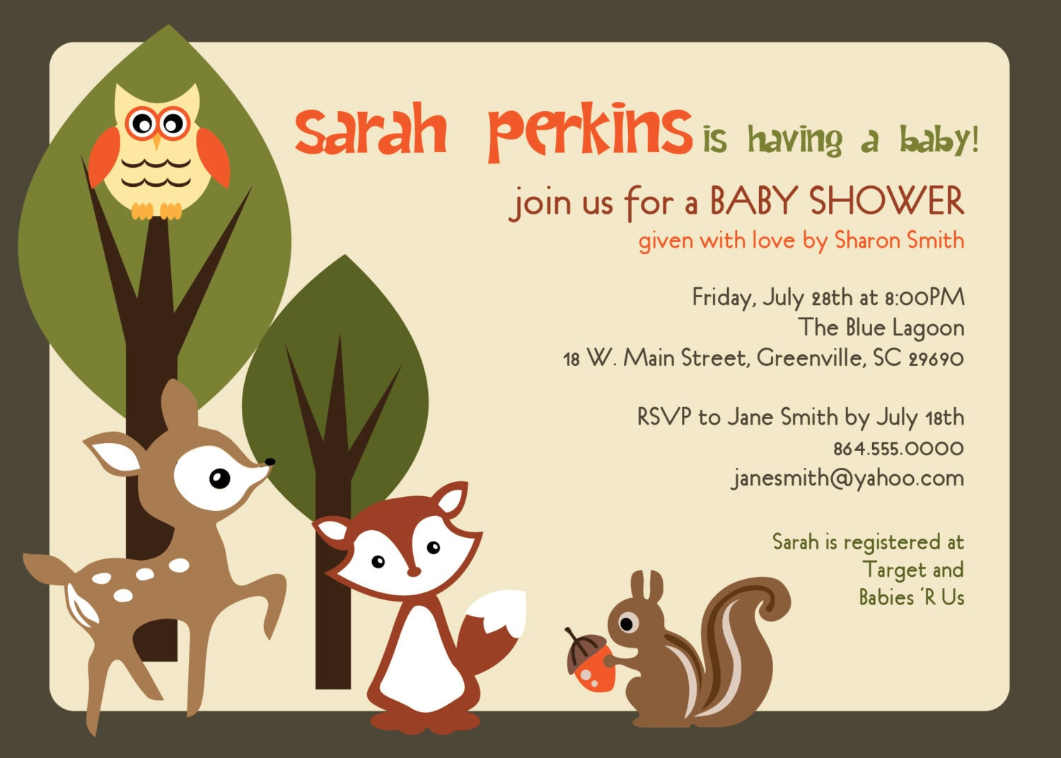 printable baby shower invitation woodland animals creatures, Baby shower invitations