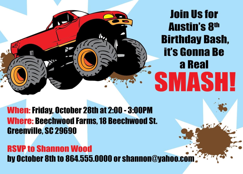 Monster Truck Invitation Boy Child's Birthday Party