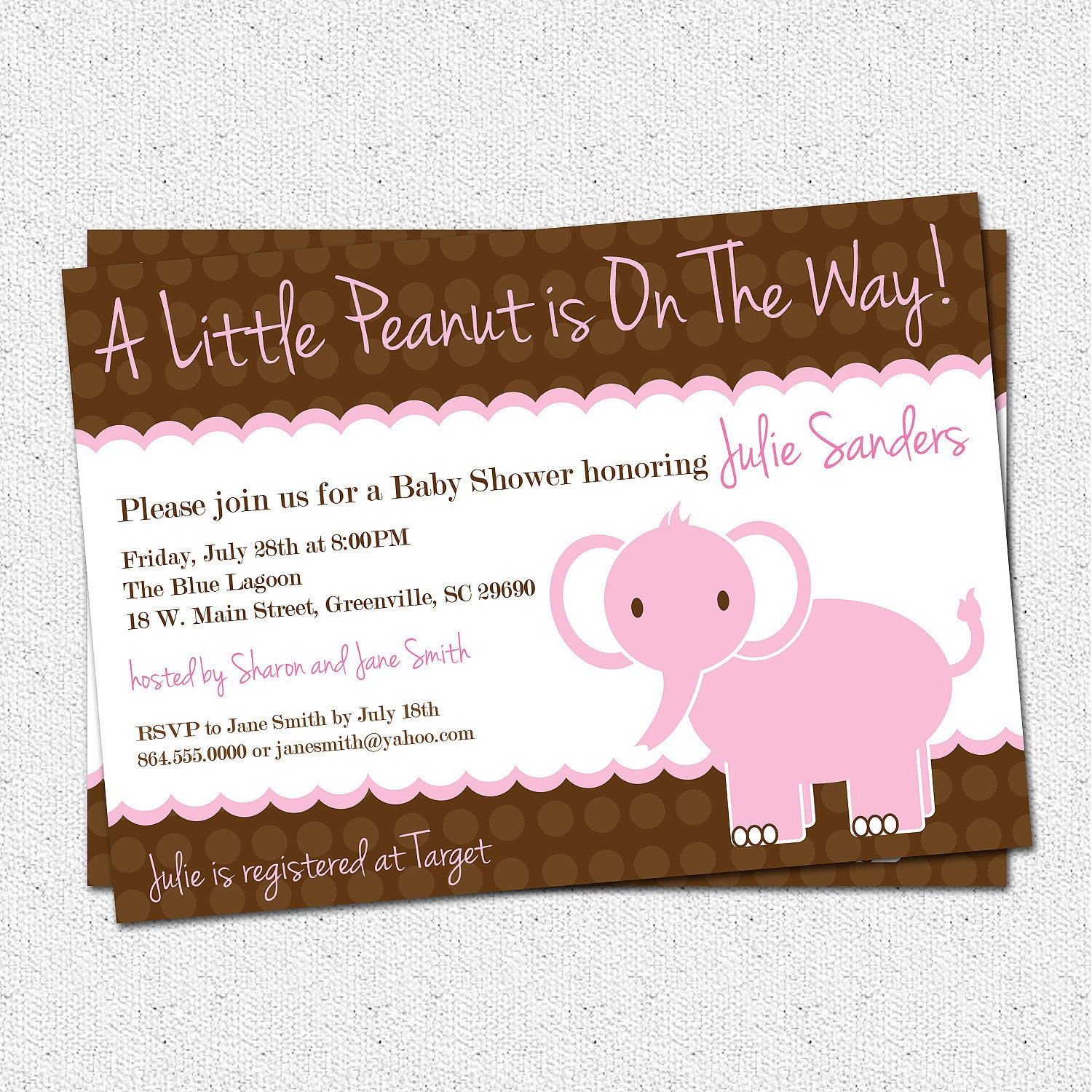 Baby Girl On The Way Quotes: Baby Shower Invitation Girl Elephant Little Peanut Pink