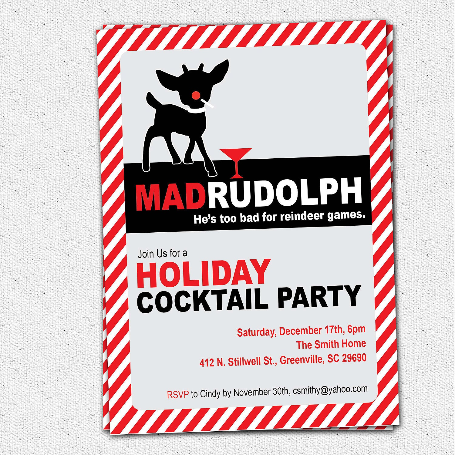 Christmas Party Invitation Quotes: Mad Rudolph The Red Nosed Reindeer Funny Christmas Holiday