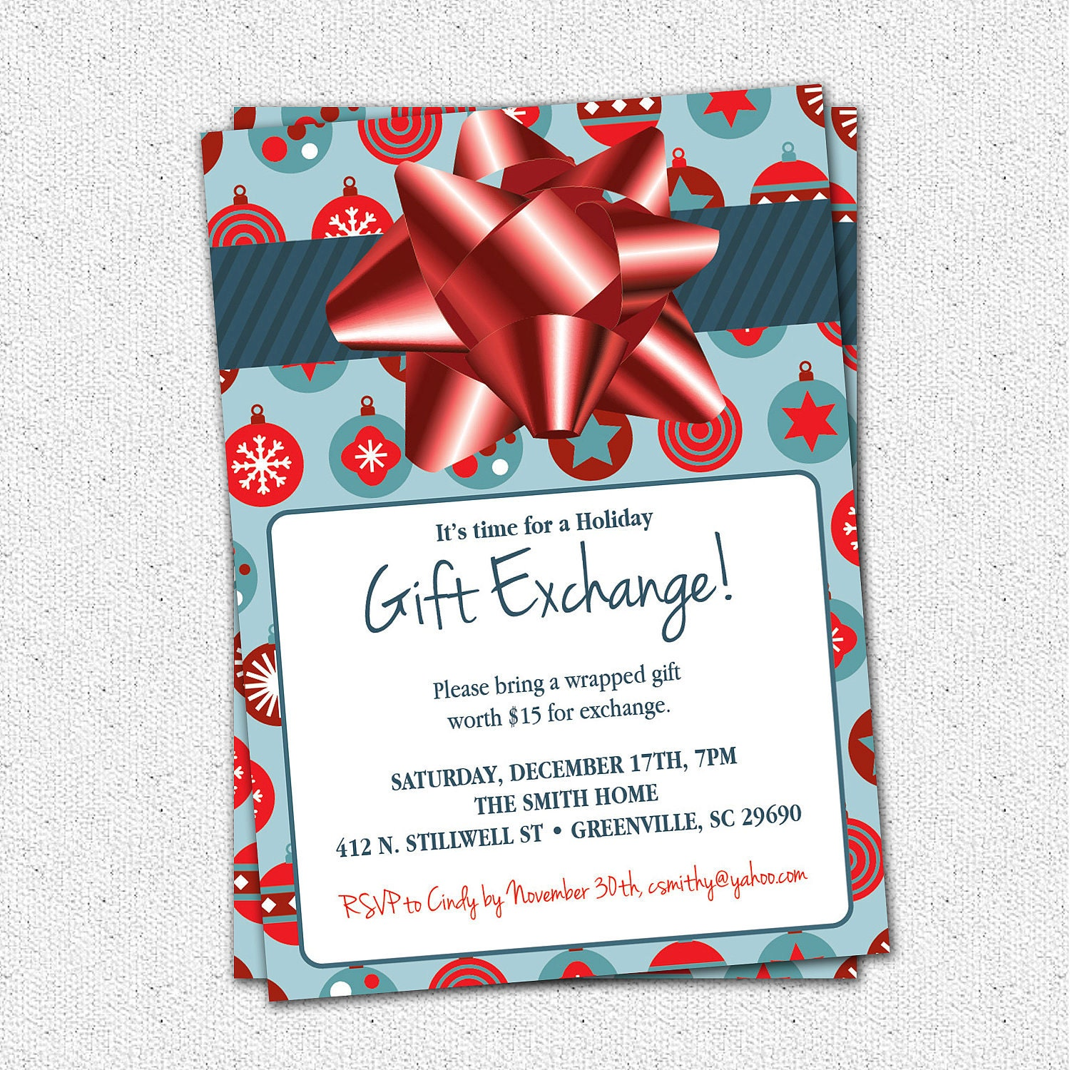 Christmas holiday gift exchange party invitation blue or green Good gifts for gift exchange