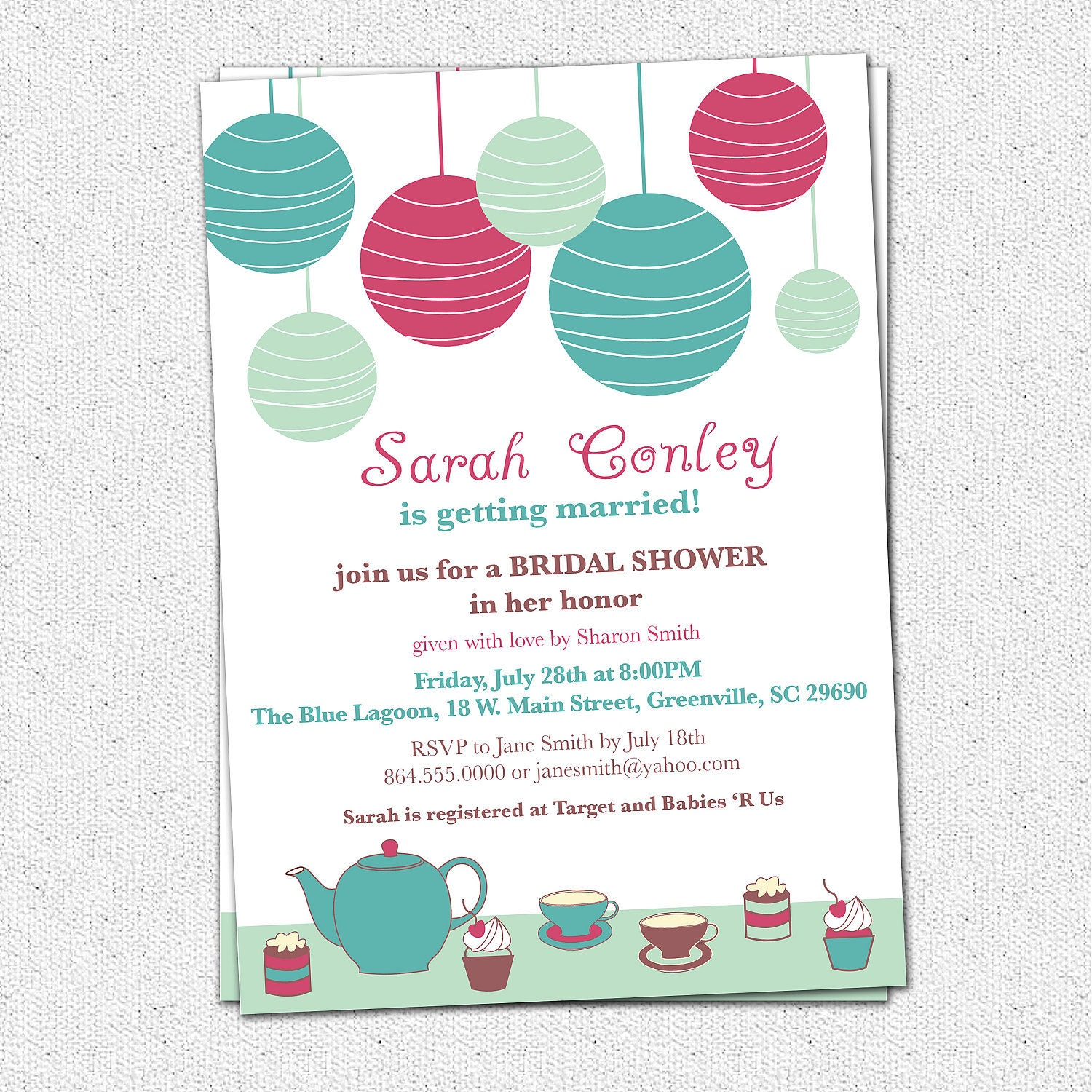 Wedding Gift Card Sayings: Bridal Shower Invitation Printable Tea Brunch Lanterns
