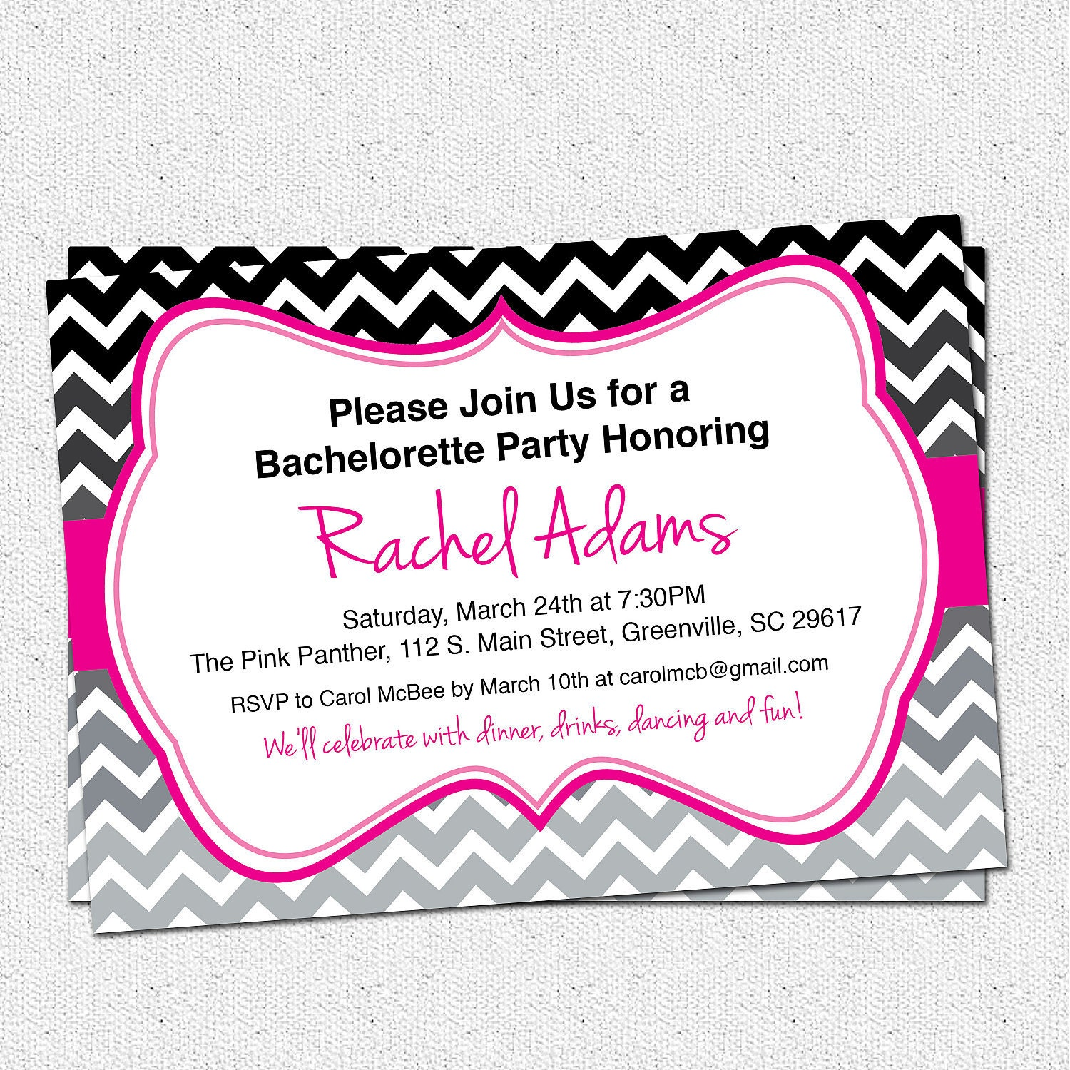 Bachelorette Invites Free with adorable invitation layout