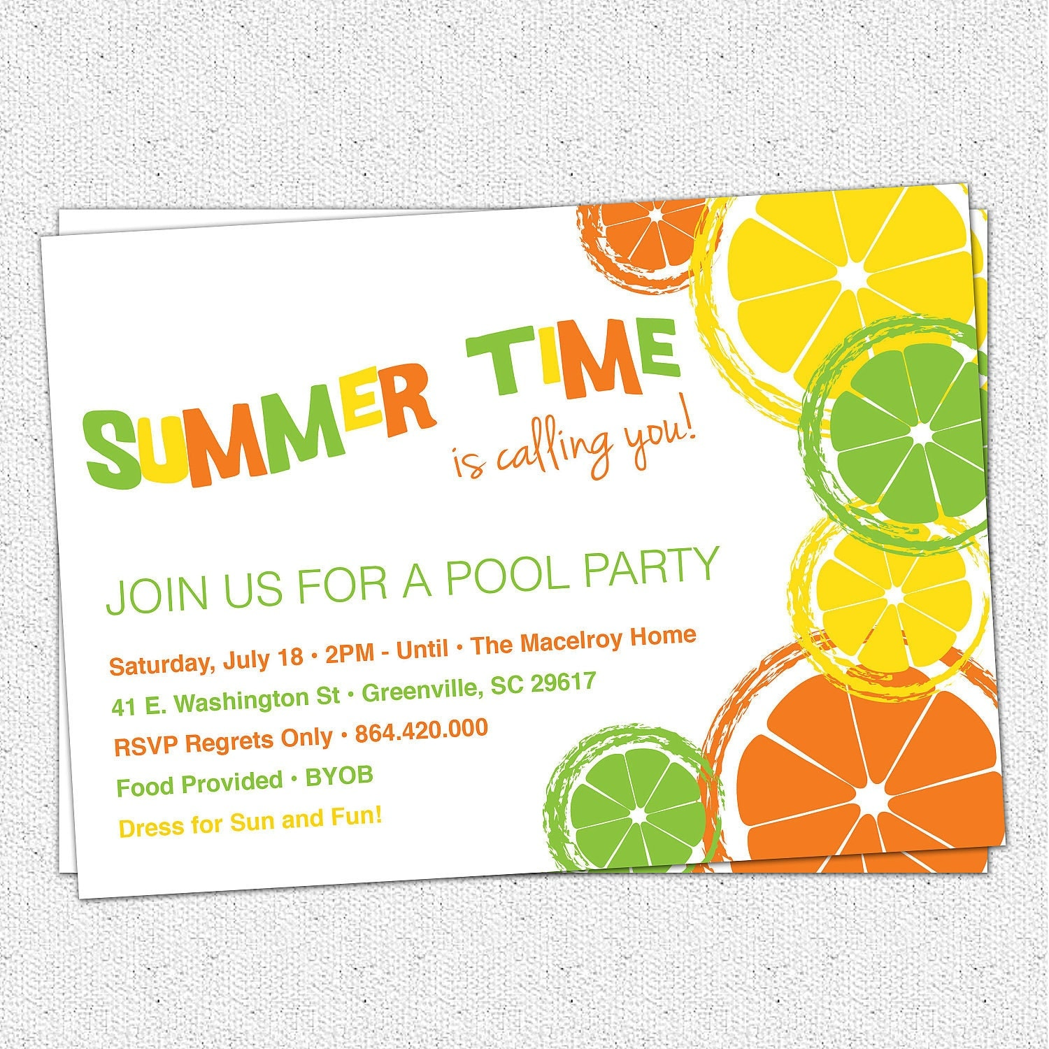Citrus Invitation Summer Pool Party Lemon Lime Orange
