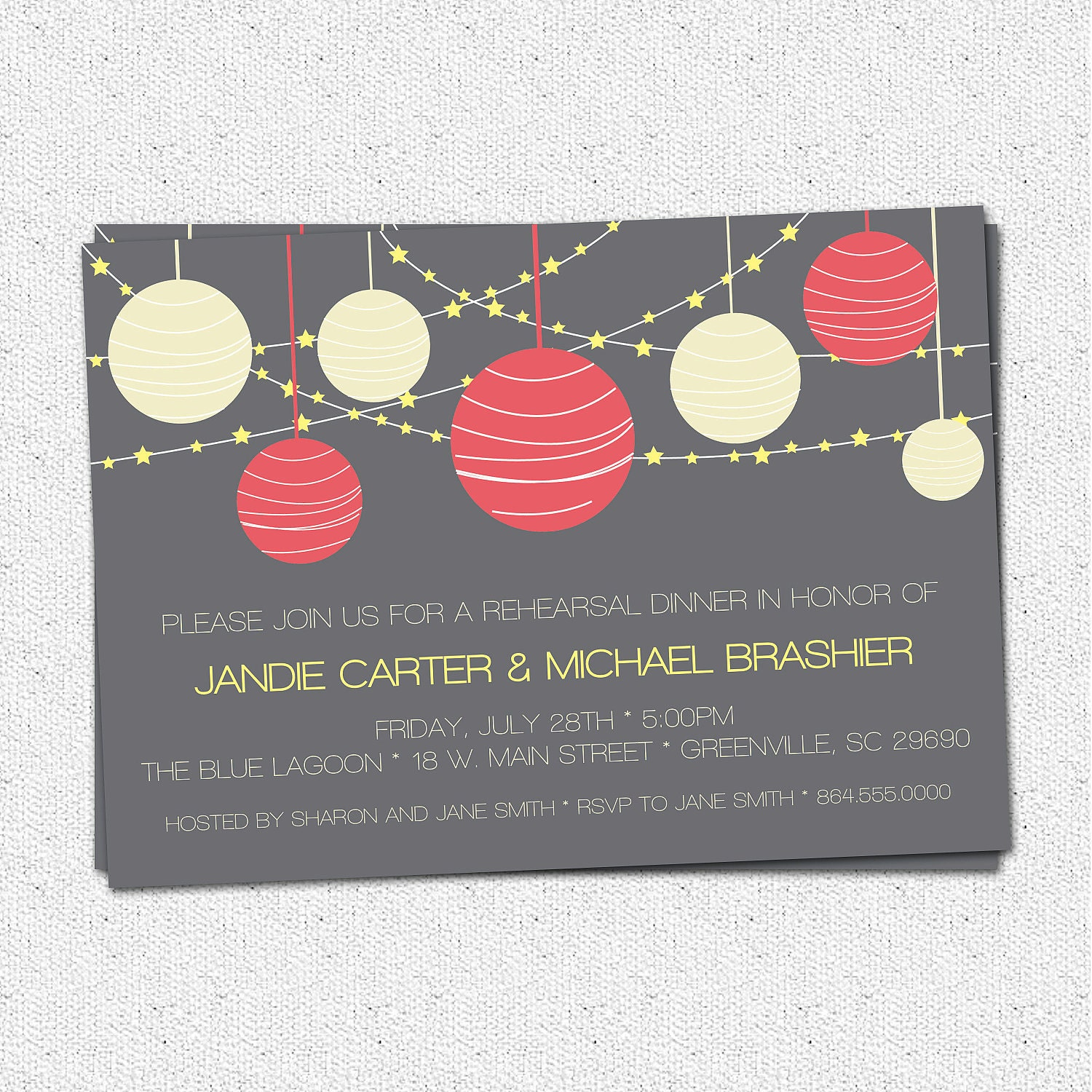 Printable Rehearsal Dinner Invitations Night Lanterns
