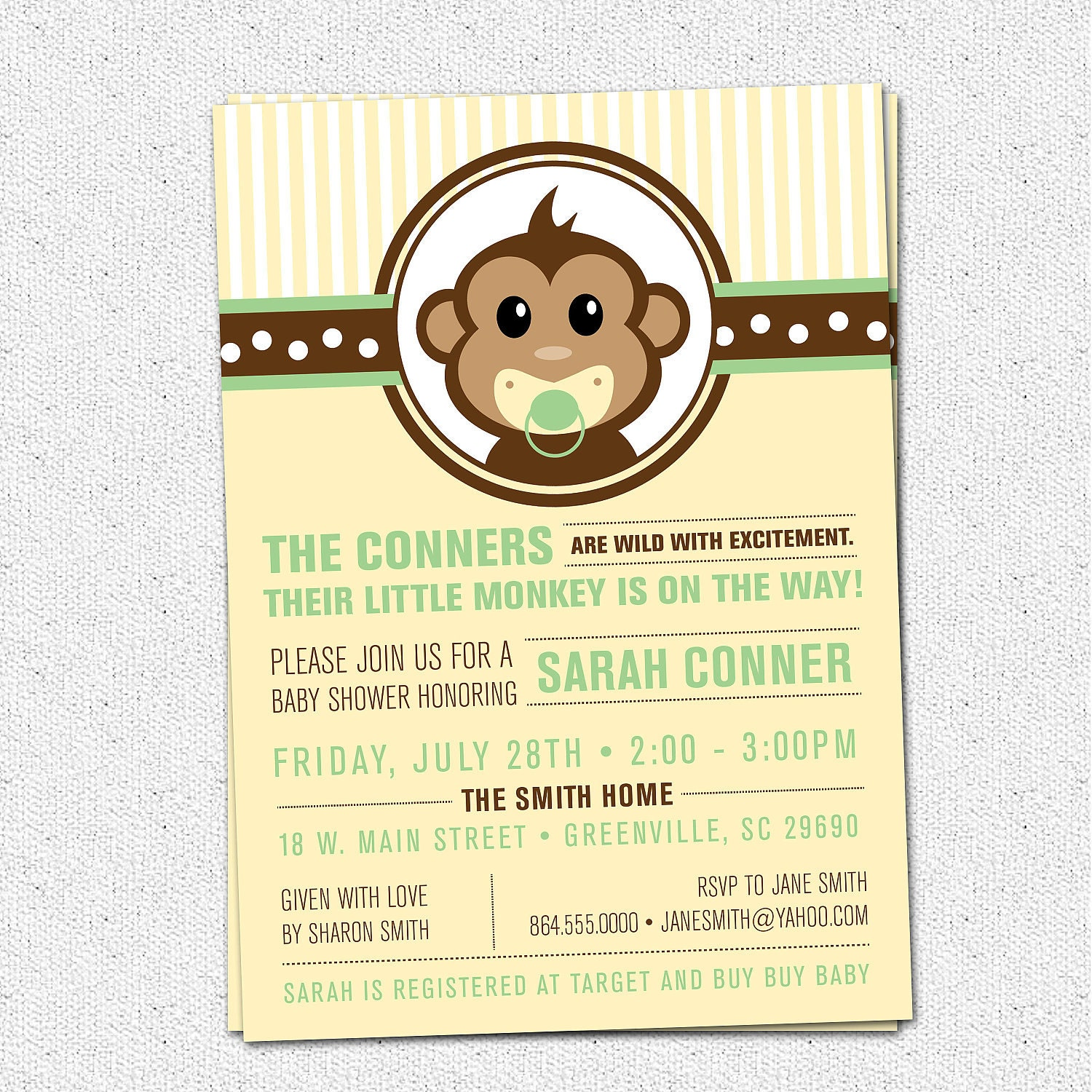 little monkey baby shower invitation printable modern