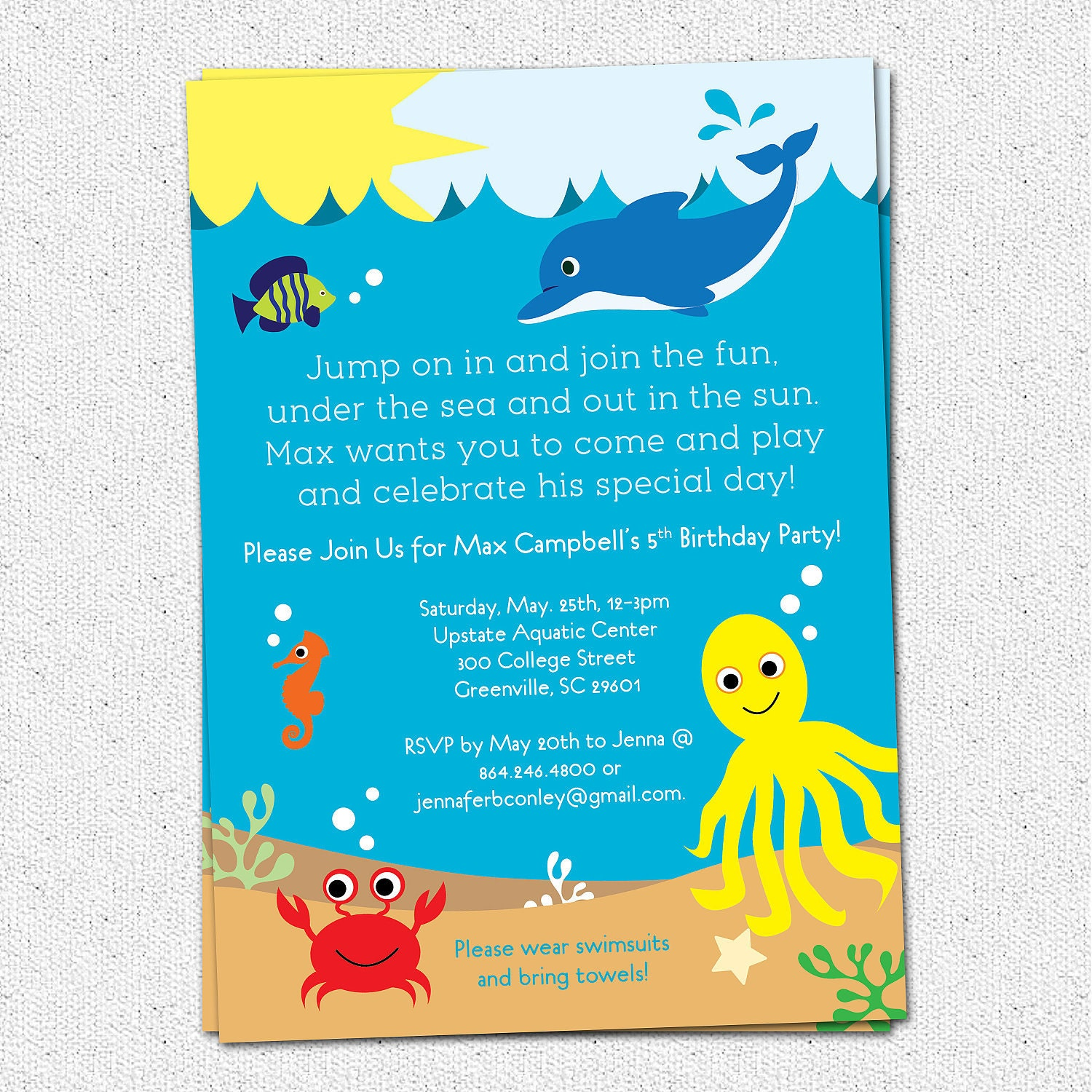 under the sea birthday party invitation printable boy or, Birthday invitations