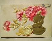 Pink & Gold Flowers, Oranges - 1912 - Sparta and Grand Rapids, Michigan - Antique American Postcard