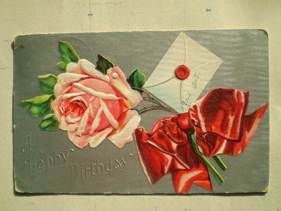 Happy Birthday - Pink Roses & Red Ribbon - 1909 - Antique American Postcard