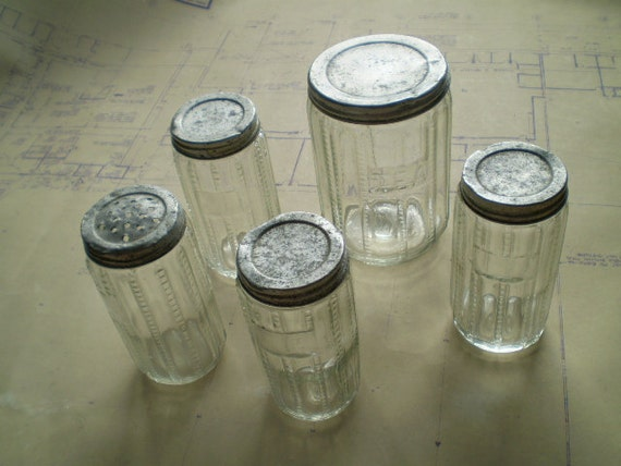 Antique Hoosier Cabinet Glass Tea Jar and Spice Jars with Original Lids - Zipper style - Early 1900s