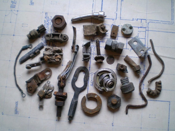 Lovely Rusty Metal Parts - Industrial Salvage - Found Objects for Assemblage, Sculpture or Altered Art