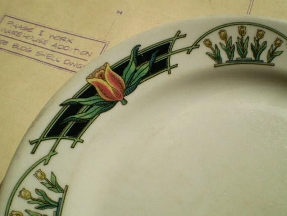 Vintage Shenango China Plate - Restaurant or Diner Ware - Floral Tulip Transferware Pattern