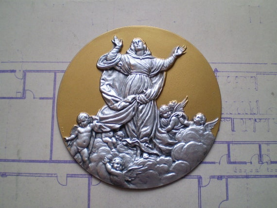 Virgin Mary and Angels - Vintage Large Round Metal Stamping - Made in Italy