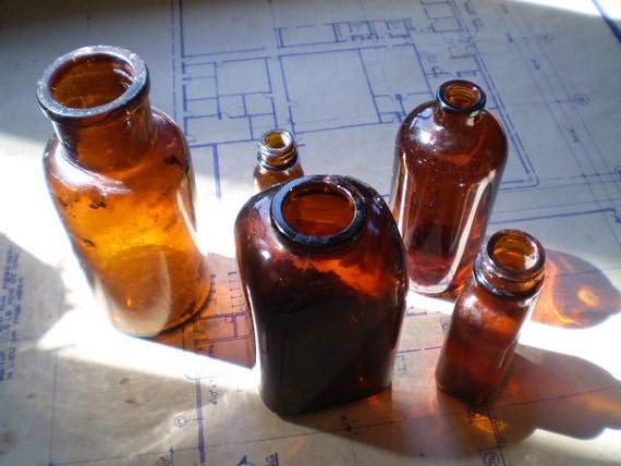 Vintage Apothecary or Medicine Bottles - Amber Brown Glass - Instant Collection of Five