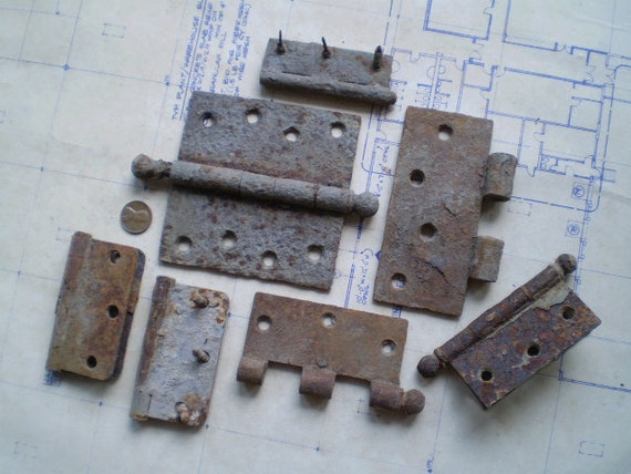 Rusty Metal Hinge Parts - Salvaged Supplies - Found Objects for Altered Art, Sculpture or Assemblage