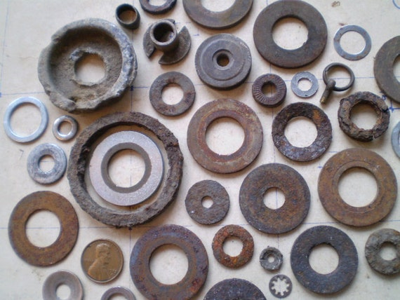 Lovely Rusty Metal Washers & Round Pieces - Salvaged Supplies - Found Objects for Jewelry, Assemblage or Altered Art