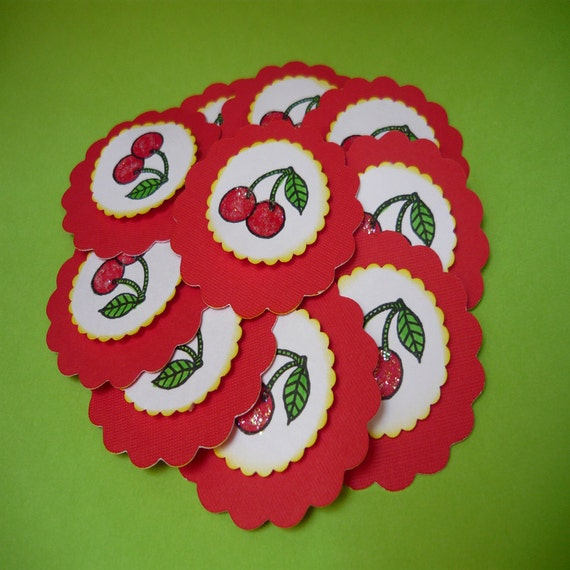 Cherry tags set of 5