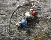 Fabulous Fabula-Blue Glass Bead-Silver Heart-Sterling Wire Wrapped Pin- Red Bead