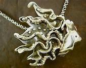 Piscean Wonder Pendant-Fish-PMC Fine Silver-Aquatic-Sterling Chain