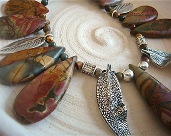 Rusty Jasper Bead Necklace-Fine Silver Leaves-Twister Wire Clasp