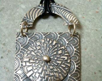 Fine Silver Pendant - Botanical - Zinnia - Textured PMC - Cord Necklace - OOAK
