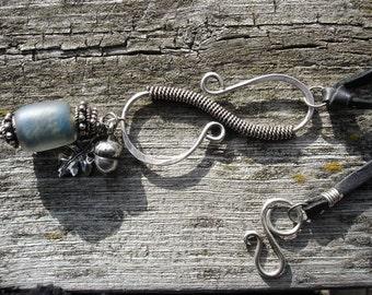 Serendipity Pendant-Blue Glass Bead-Sterling Silver -Handmade Clasp