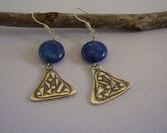 Earrings - Fine Silver -  Blue Lapis  -  Small Dangles