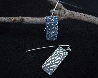 Fine Silver Earrings - 999 Small Dangles - PMC - Textured and Patinated Zentangles