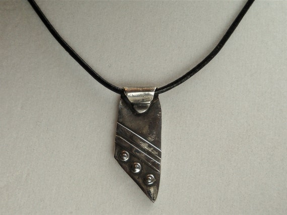 Fine Silver Necklace - PMC - Corded Silver Pendant - Metal Clay Jewelry