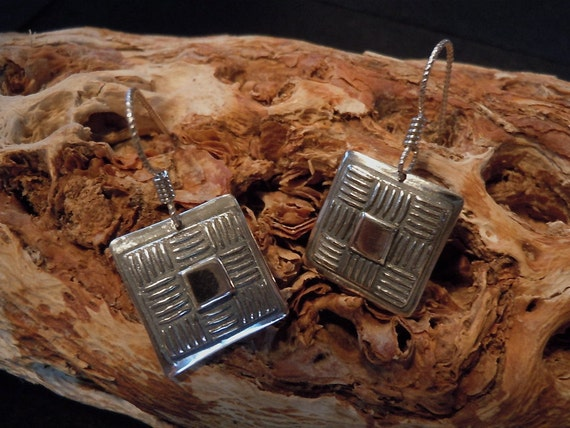 Square Basket Weave Earrings - Handmade Fine Silver Jewelry - Small Dangles - Argentium Ear Wires
