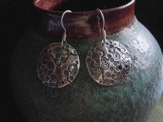 RESERVE for Tamm - Fine Silver Earrings - Dome Shaped Earrings - HandmadeTextured Circles- Argentium earwires