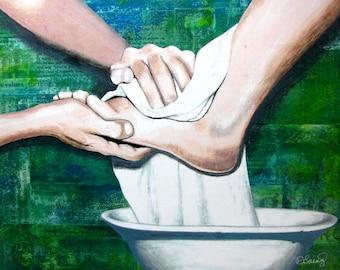 Mixed Media Painting - Servanthood - John 13: 13-17 - Print Mounted on Wood