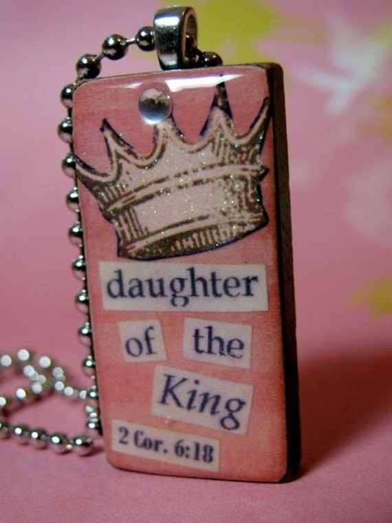 Domino Necklace, Daughter of the King, Inspirational