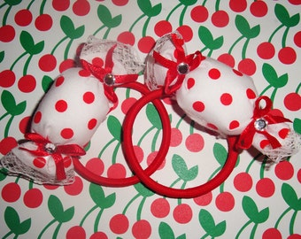 White and Red Polka Dot Puffy Candy Wrapper Elastic Hair Bands - 2 pcs set