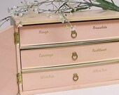 Mid Century Pink Jewelry Box with Atomic Design