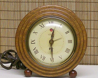 Clock Electric Shelf Clock Vintage Wooden Embassy Telechron