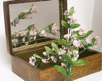 Jewelry Keepsake Box Wooden Bakelite Handle Mirror